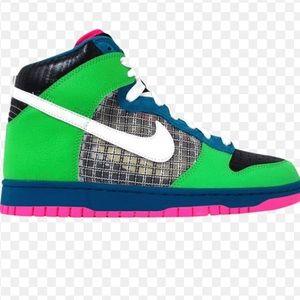 Nike Dunk High 6.0 Neon Green Pink shoe size 8.5